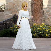 White Plus size Lace Muslim Evening Dresses A-line Long Sleeve Woman Arabic Dress with Gold Belt Formal Party Dress Vestido 2016
