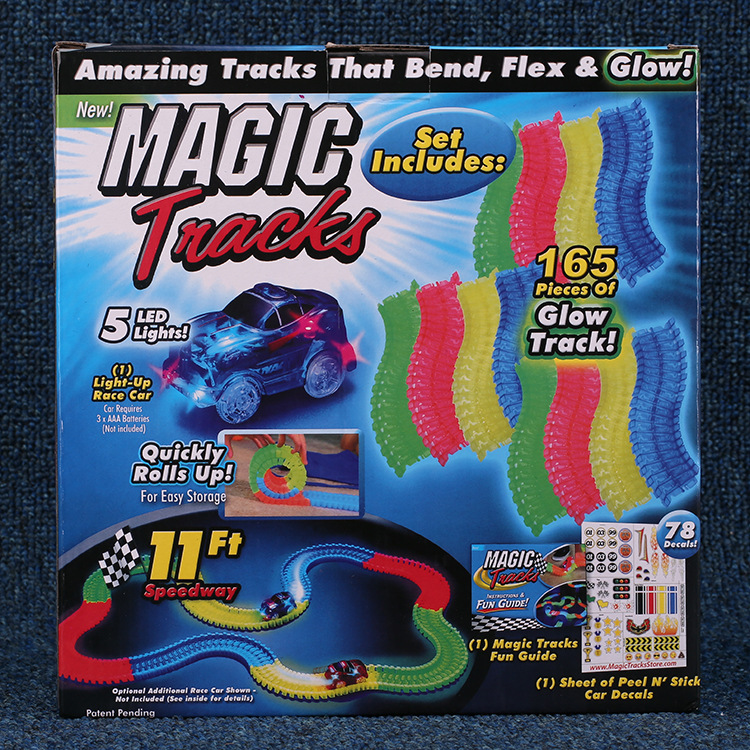 Wholesale hot sale high quality 165/220pcs Magic Track Toys set Bend Flex & Glow In The Dark Magic Track Car Toy