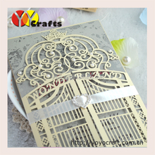 2015 Ideal products latest luxurious unique bengali 3d wedding invitation card laser cut wedding card
