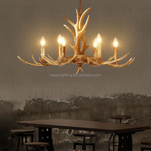 MASO Six Lamp Holders Vintage Resin Material Antlers Chandelier Edison Candle Bulb E14 2300kCCT MS-P2002 750*400