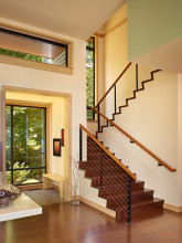 fashionable and unique design wooden tread / laminated glass straight staircase