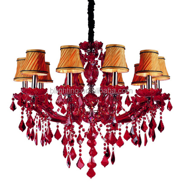 Modern fancy red plastic crystal chandeliers
