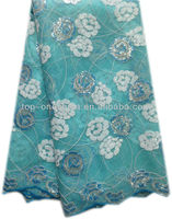 2013 high quality french lace fabric for wedding dress(29111-turquoise blue)