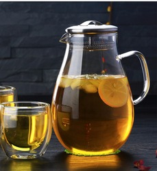 Heat Resistant Glass Tea Pot Water Drop Shaped Tea Pitcher Juice Kettle With Lid