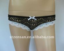 100%nylon lace boyshort with bows underwear