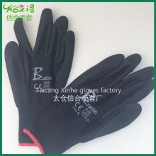 print logo EN 388 durable anti-cut rubber coated cotton glove protecting safety gloves