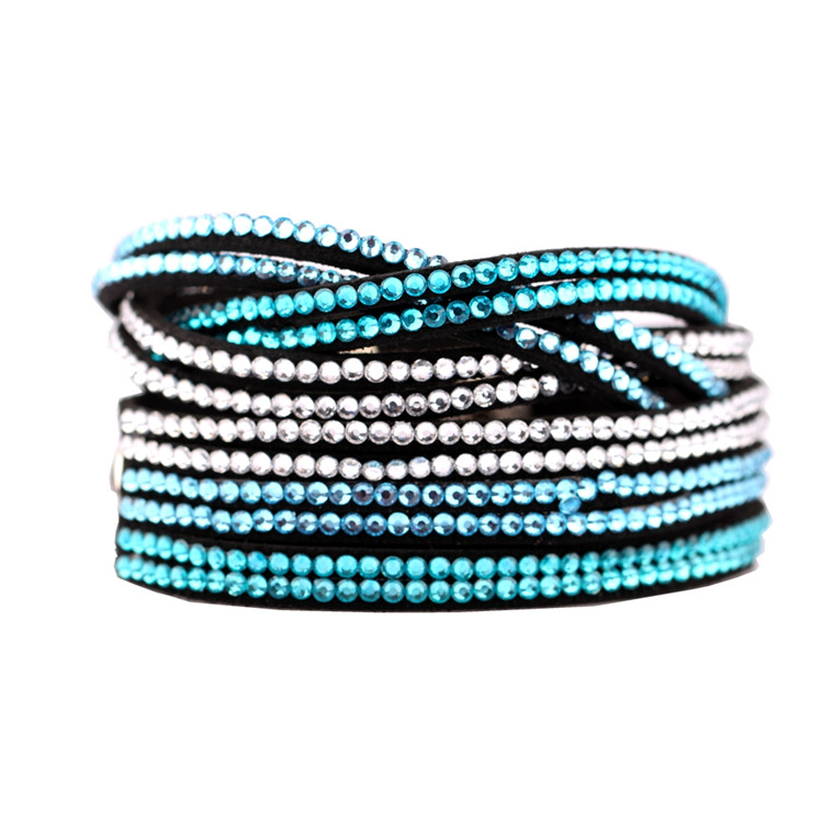 HSQ-299a super fiber cloth resin diamond wrap bracelet tmall hot selling product 2017