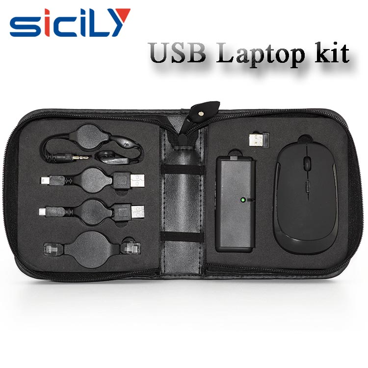 New Travel Kit Laptop Accessories Mouse USB HUB Earbuds cables