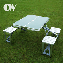 China wholesale suitcase 4 seat portable aluminum foldable outdoor camping folding picnic table with umbrella hole