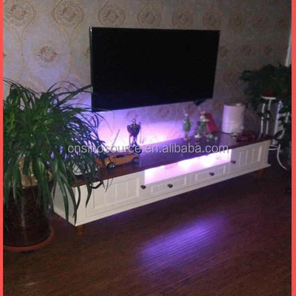wholesale New Modern LED light wooden TV stand and tv racks designs
