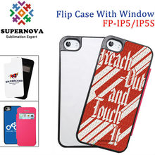 Blank Flip Leather Phone Case with Sublimation coated Aluminum Sheets for iphone 5 5S