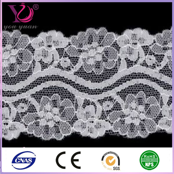 White eyelash trim swiss voile lace fabric for lady underwear