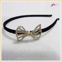 Fashion women black pad headband with crystal rhinestone bowknot hair decoration accessory