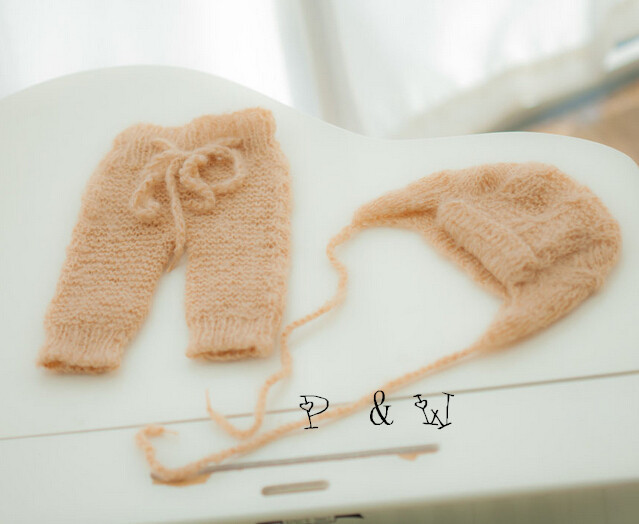 Knit baby pants and hat Newborn photo prop set mohair bonnet and pants Lace mohair hat pants Baby girl Baby boy Photo prop