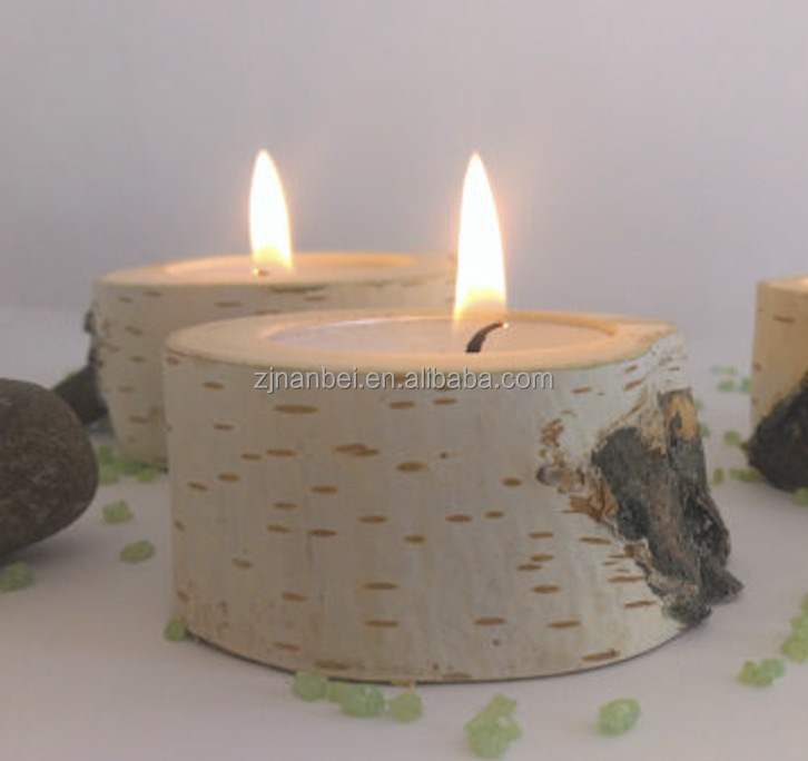 Custom birch tree wedding candle holder wooden bath tealight holder
