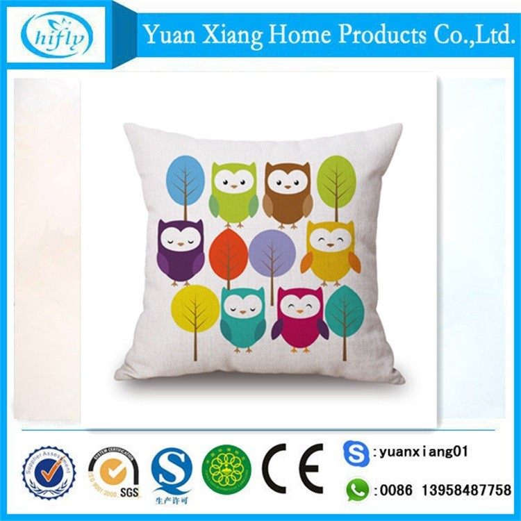 Animal custom printing linen cotton pillow cover for chair