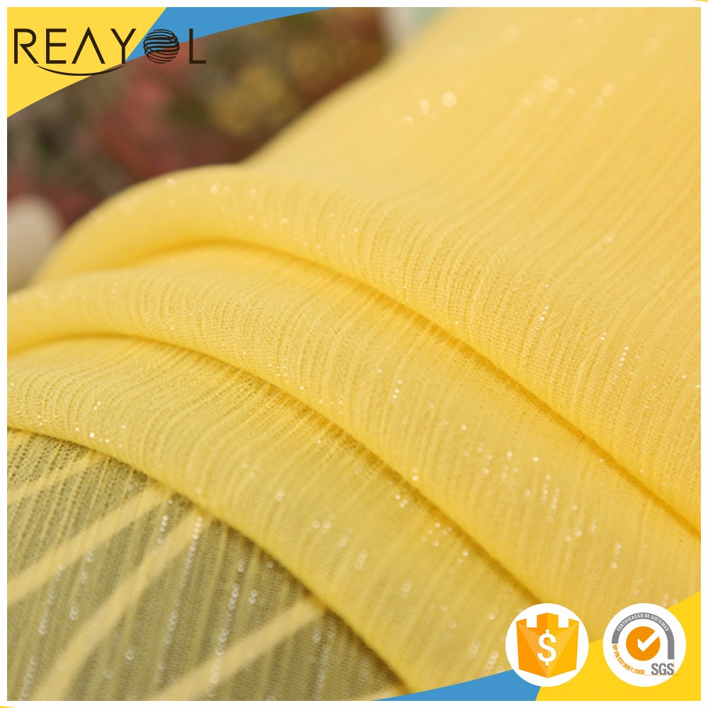 High quality 100% T yellow <strong>fashion</strong> french cheap chiffon curtain fabric