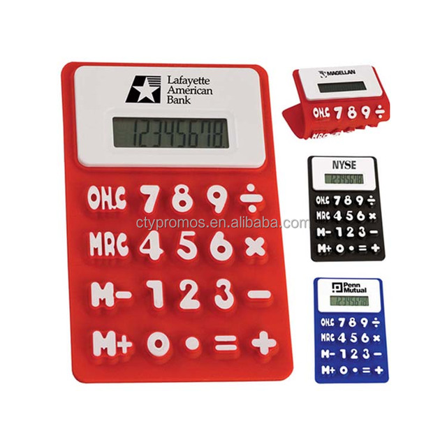 Promotional Foldable Soft 8 Digital Silicone Rubber Calculator
