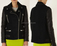 New women's Splice Wool tan Biker Jacket With PU Leather Sleeves