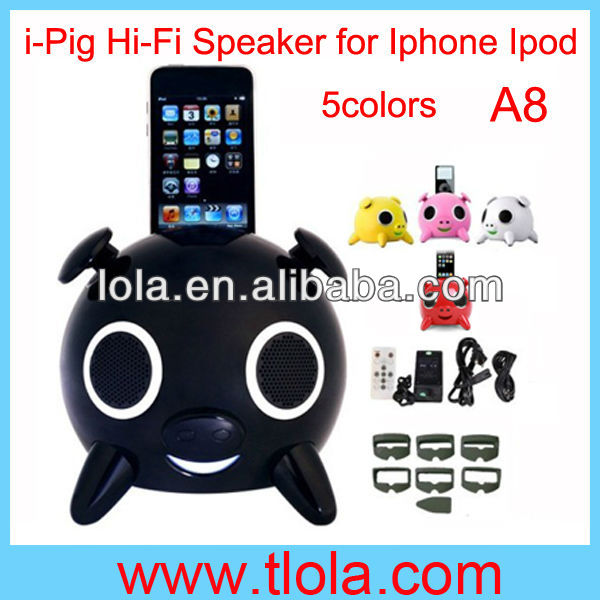 Colorful Pig Shaped Dock Touch Speaker for Iphone Ipod MP3 Tablet Computer Player A8