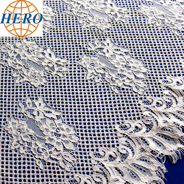 china wholesale cheap eyelash wedding fabric white nylon lace bridal fabric