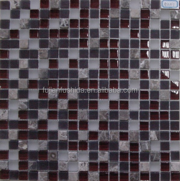 300x300mm modern dark colors crackle glass mosaic tile for building materials
