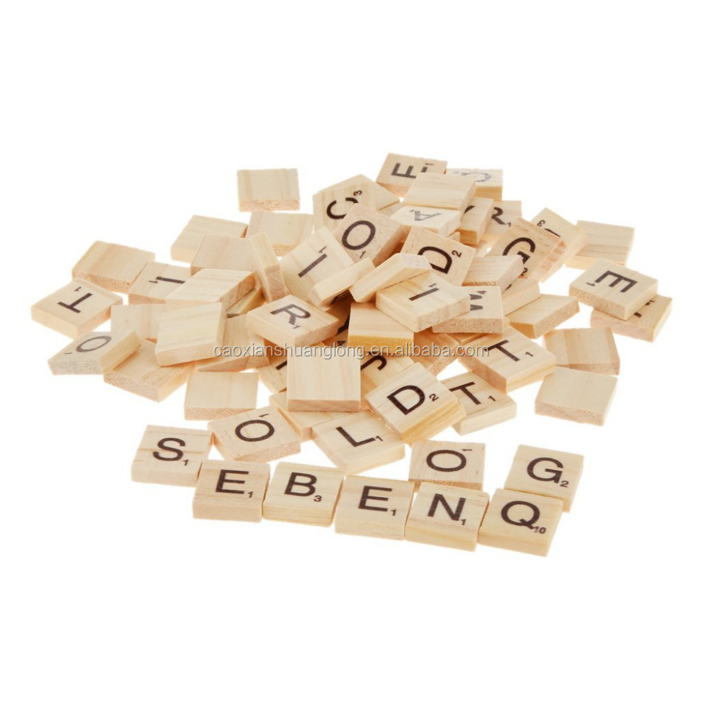 Wooden Alphabet Scrabble Tiles Black Letters & Numbers For <strong>Crafts</strong>