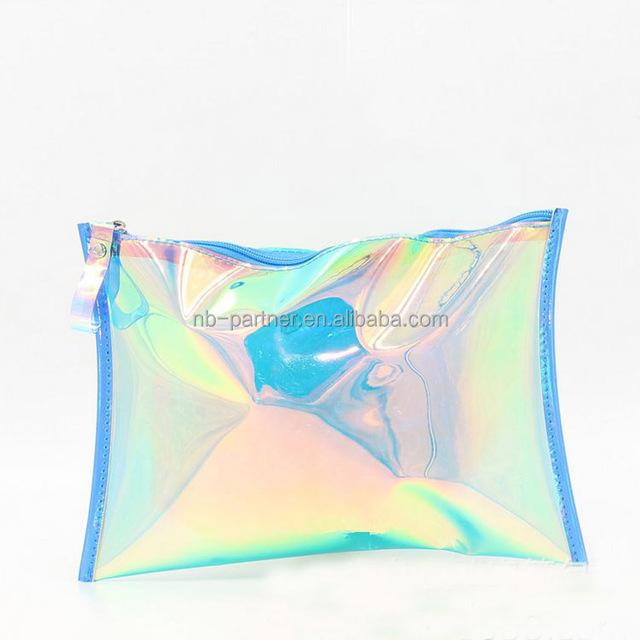 2017 Hot Selling pvc laser white blue pink makeup bag/ cosmetic bag