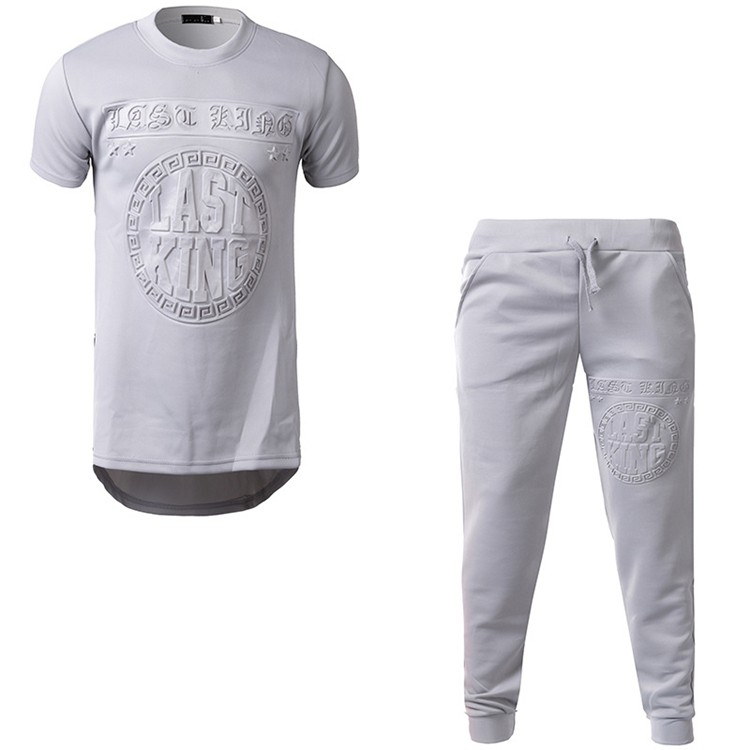 3D Embossed Leisure Suit T Shirt With Pants Set For Sport