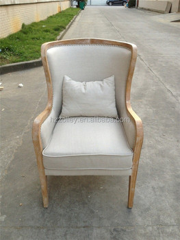 High Wood Frame Wing Back Chair Upholstery Vintage Picture Accent Chair  With Arms
