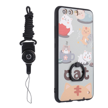 New Cute Cats Painting Mobile Phone Cover For Huawei P10 Plus Soft Back Cover With Rings Holder+Lanyard