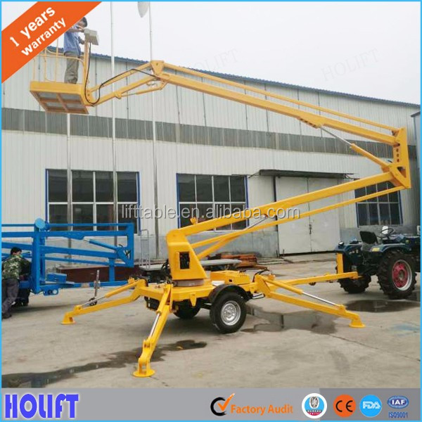 Good efficiency 8-16m mobile boom lift/hydraulic crank arm lift/telescopic folding arm lift table