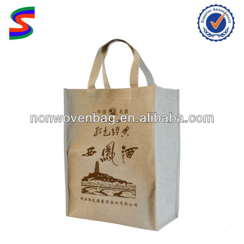 Jute Wine Bottle Gift Bags Thermos Cooler Bag For Wine