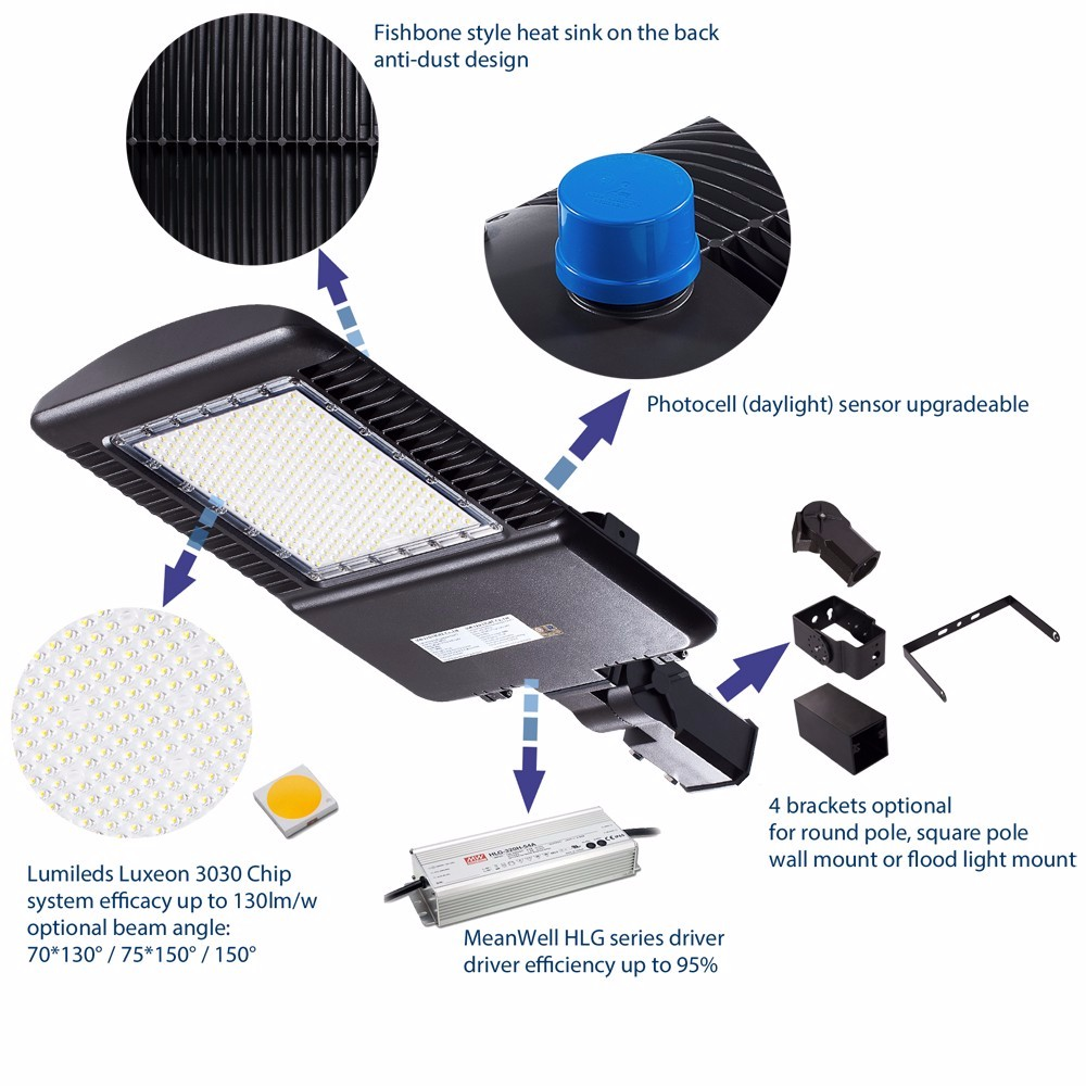 UL DLC Premium FCC 100-277/347V/480Vac AOK LED Parking Lot Shoebox Light, with Photocell