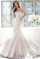 satin and lace mermaid wedding dresses with detachable skirt