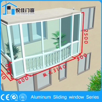 Simple design aluminum sliding window with selected material