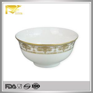 Used Hotel White 4.5'' gold indian Serving Bowls,indian enamel aluminum serving bowl