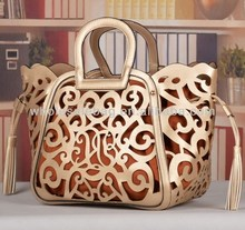 In Stock 2014 Trend Designer Floral Hollowed Lady Handbag Women Hand Bag