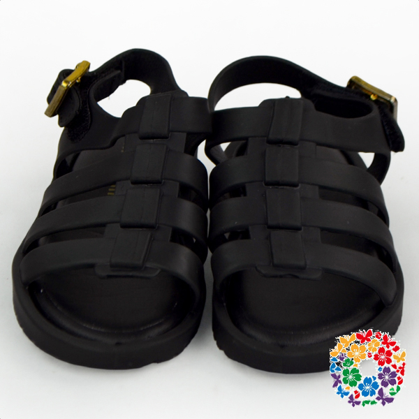 Cheap Fancy Summer Beautiful Baby Girls Shoes Black Rubber Soft Baby Shoes