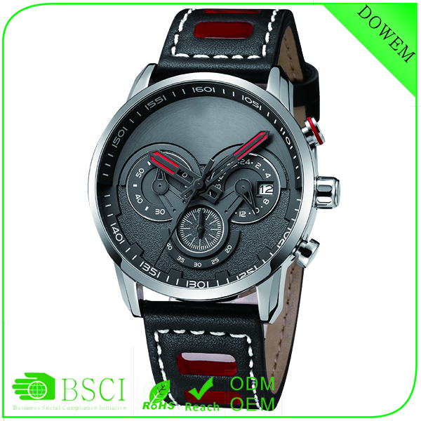 2016 New watch sub-dial complex dial working oem custom real cow-leather paidu watch