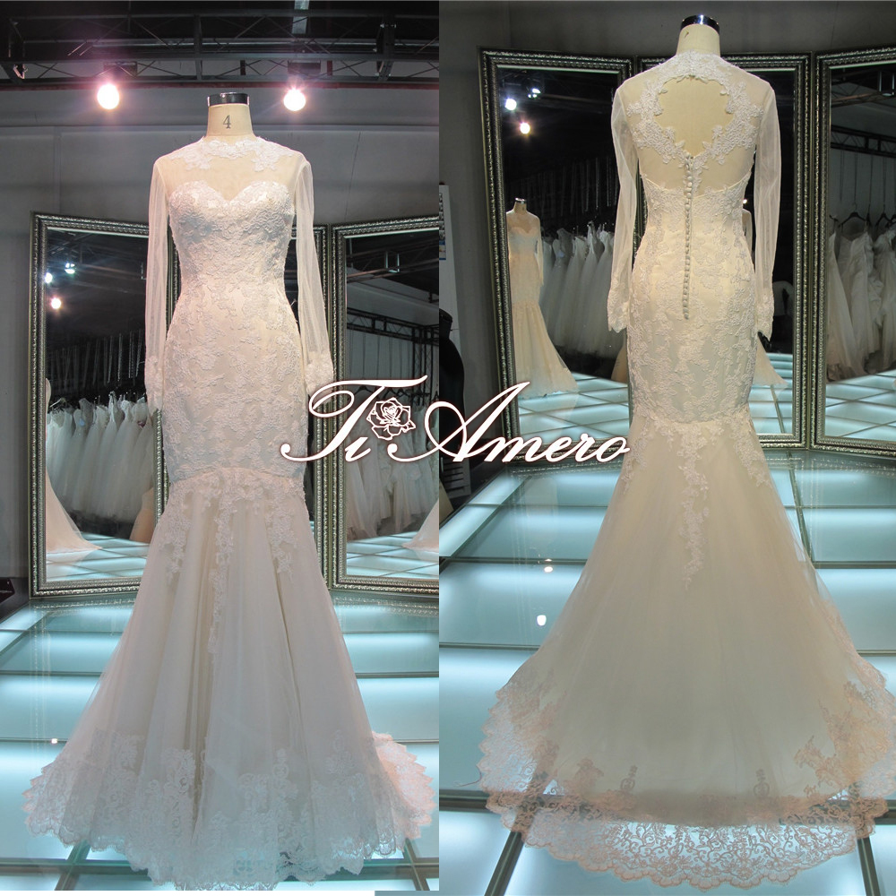 Latest Dress Designs London Dress Company Long sleeve Sweetheart Lace Mermaid Back Heart Cut Black And White Wedding Dresses
