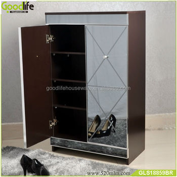 2018 new design wooden mirrored shoe storage cabinet wholesale