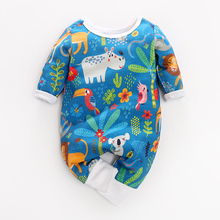 Spring 2019 new 100% cotton baby and toddler long-sleeved round-collared animal and plant printed romper, retail and <strong>w</strong>