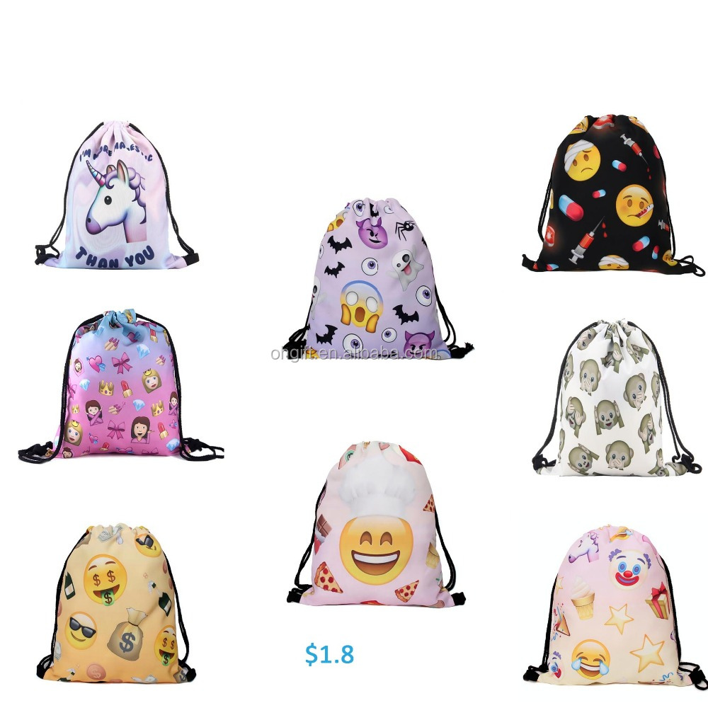 New arrival 52style 3d emoji lady backpack school drawstring bag