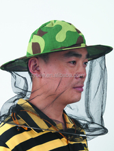 Camouflage cotton beekeeping protective hat with veil for beekeeper