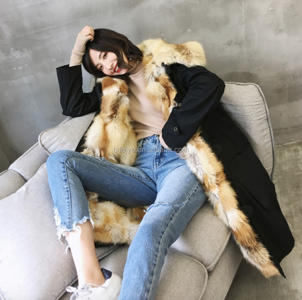 Factory Direct Selling Long Style Red Fox Fur Lining Natural Fur Parka