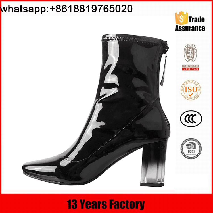 2016 OEM customize size new stylish clear high heel woman ankle boots