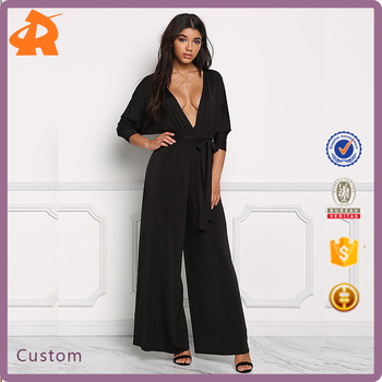 Fashion Rompers Women's Black Plunge Wide Legged Jumpsuit