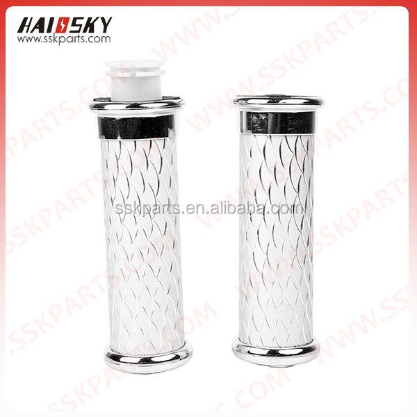 Hassky motorcycle engine parts Aluminum Chrome Handle Bar Grips Rubber Hand Grips