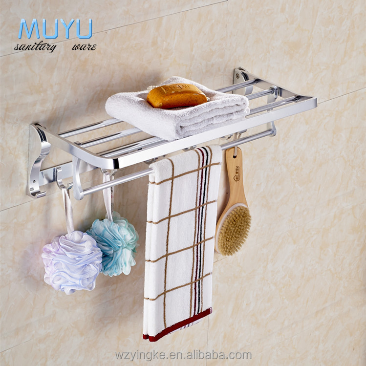 factory wholesale Aluminum folded towel shelf towel rack, shower shelf towel rack with price